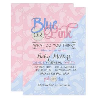 Babygender avslöjer fotspår för partyrosablått 12,7 x 17,8 cm inbjudningskort