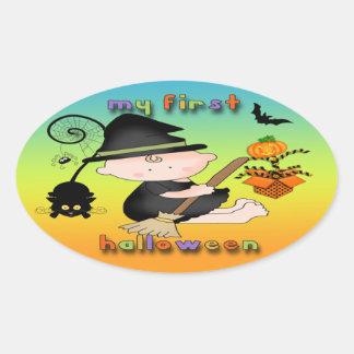 Babyhäxa min 1st Halloween Ovalklistermärke Ovalt Klistermärke