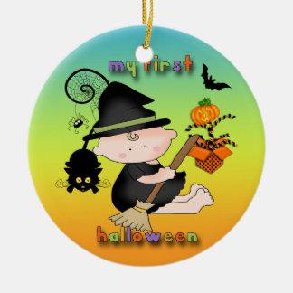 Babyhäxa min 1st Halloween rundaprydnad Julgransprydnad Keramik