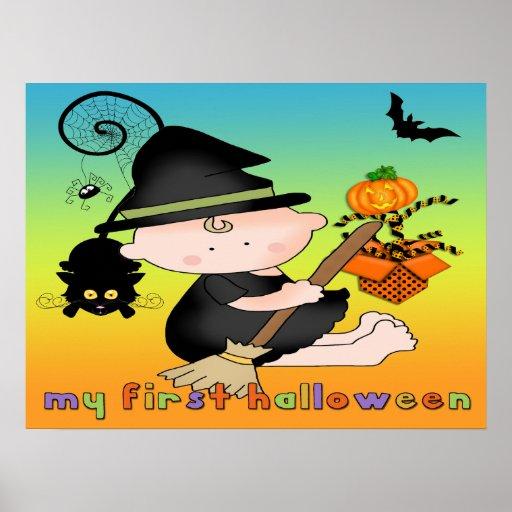 Babyhäxa mitt 1st Halloween affisch/tryck