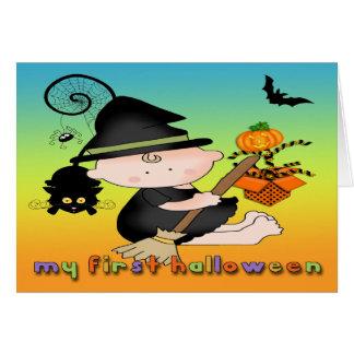 Babyhäxa mitt 1st Halloween hälsningkort Hälsningskort