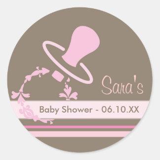 Babyinbjudan- eller favörklistermärke - nappar runda klistermärken