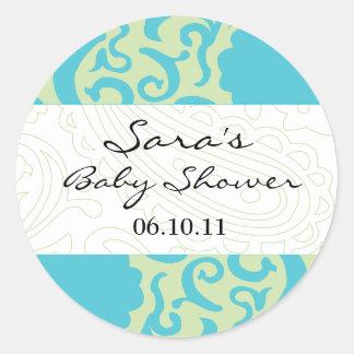 Babyinbjudan- eller favörklistermärke - roligt tyg runt klistermärke
