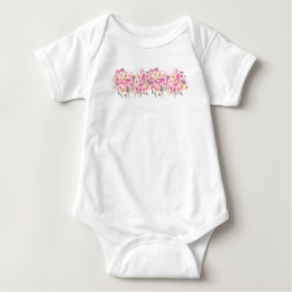 BabyJersey Bodysuit, handpainted blommor T-shirt