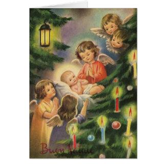 BabyJesus för vintage italiensk julkort Hälsningskort