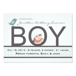Babykärlek - fotofödelsemeddelande 12,7 x 17,8 cm inbjudningskort