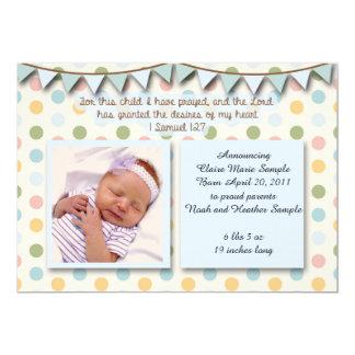 Babymeddelande, kristen Scripture för pojke 12,7 X 17,8 Cm Inbjudningskort