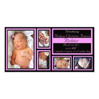Babymeddelande - rosa fotokort