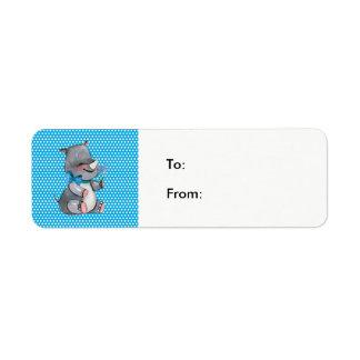 Babynoshörning på blåttpolka dots returadress etikett