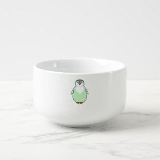 Babypingvin i ljust - grönt soppmugg