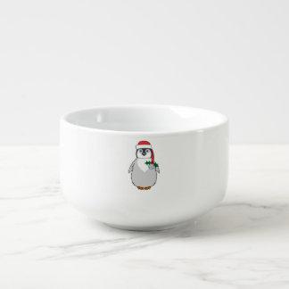 Babypingvinet med den röda Santa hatten & silver Soppmugg
