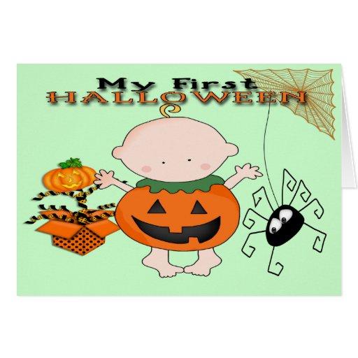 Babypumpa mitt 1st Halloween hälsningkort Kort
