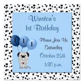 Babys 1st födelsedagsfest inbjudanblått fyrkantigt 13,3 cm inbjudningskort