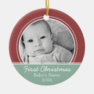 Babys första jul rund julgransprydnad i keramik