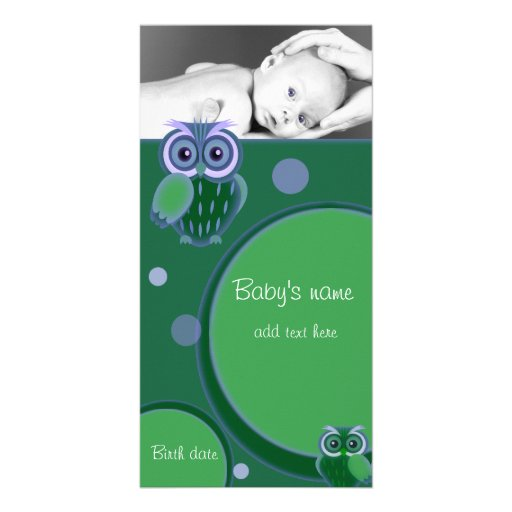 Babyugglameddelande Hälsningskort Med Foto