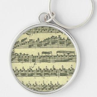 Bach Partita musikmanuskript Rund Silverfärgad Nyckelring