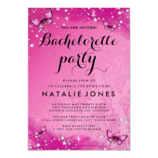 Bachelorette för shock rosafjärilsdiamant 12,7 x 17,8 cm inbjudningskort