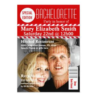Bachelorette modernt tidskriftfoto 12,7 x 17,8 cm inbjudningskort