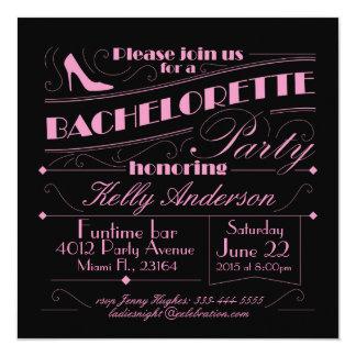 Bachelorette partydesign fyrkantigt 13,3 cm inbjudningskort
