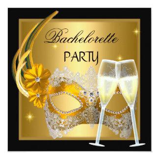 Bachelorette partyguld maskerar champagnesvart fyrkantigt 13,3 cm inbjudningskort