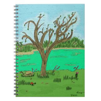 Bäck med trädanteckningsboken anteckningsbok