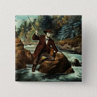 Bäckforellfiske - ett angeläget ögonblick, 1862 standard kanpp fyrkantig 5.1 cm