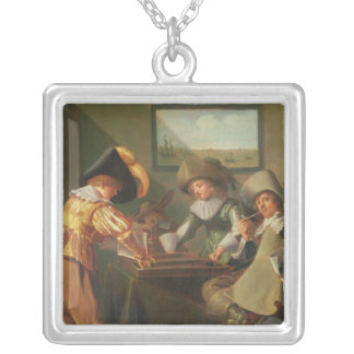 Backgammonspelare, 17th århundrade silverpläterat halsband