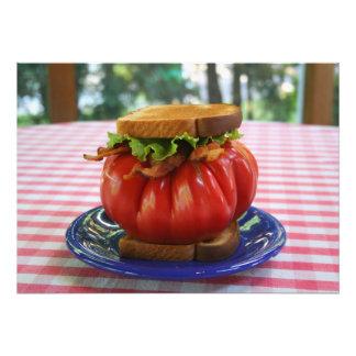 Bacon-, grönsallat- och jättetomatsmörgås fototryck