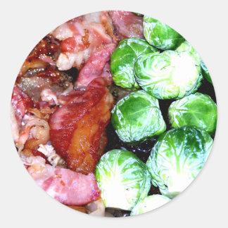 Bacon och Bryssel Runt Klistermärke
