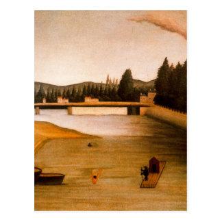 Bada på Alfortville av Henri Rousseau Vykort