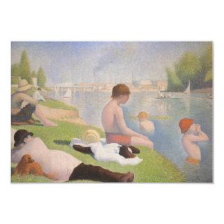 Badare på Asnieres av Georges Seurat 8,9 X 12,7 Cm Inbjudningskort