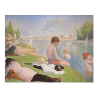 Badare på Asnieres av Georges Seurat Vykort