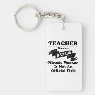 Badass lärare rektangulärt dubbelsidigt nyckelring i akryl