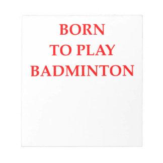 BADMINTON ANTECKNINGSBLOCK