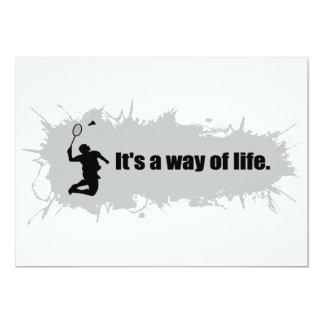 Badminton är en livsföring 12,7 x 17,8 cm inbjudningskort