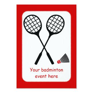 Badmintongåvor, racquet och 12,7 x 17,8 cm inbjudningskort