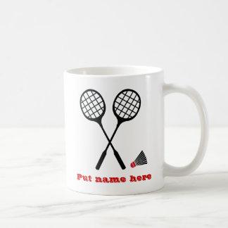 Badmintongåvor, racquet och vit mugg