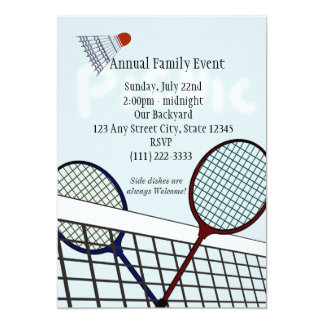 Badmintonparty/picknick 12,7 X 17,8 Cm Inbjudningskort