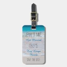 Bagage för destinationsbröllop spara datumstrand bagage etiketter