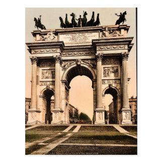 Bågen av fred, Milan, italienvintage Photochrom Vykort