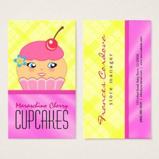 Bageri för bagare för rosa- och gultmuffintecken visitkort