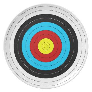 Bågskytte uppsätta som mål pläterar tallrik