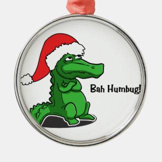Bah Humbug! Roligt alligator med den Santa hatten Julgransprydnad Metall