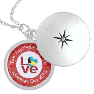 Bahamanian KÄRLEKvit på rött Sterling Silver Halsband