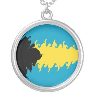 Bahamas Gnarly flagga Halsband Med Rund Hängsmycke