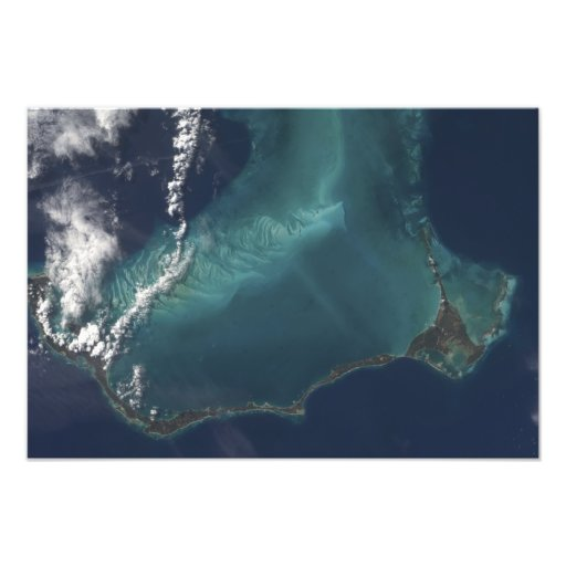 Bahamas'nas den långa smala Eleuthra ön Fotontryck