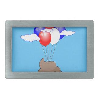BajsEmoji flyg med ballonger i blå himmel
