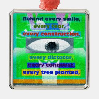 Bak varje planterade leendereva och träd julgransprydnad metall