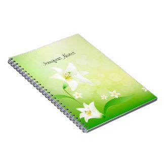 Bakgrund för grönt- och vitvårlilja anteckningsbok