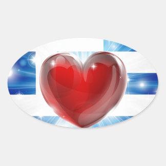 Bakgrund för hjärta för kärlekGrekland flagga Ovalformat Klistermärke